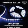Tira Luz Led Blanca 5mts 300 Led 220v Y 12v Vitrinas , Autos