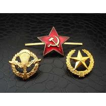 Estrella Roja Rusa Sovietica Y 2 Insignias Rusas Militares