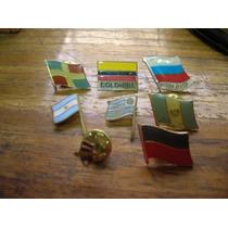 (8) Pins Tema Banderas Coleccionables.