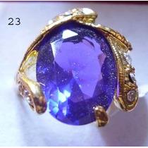 Anillo Enchapado En Oro Piedra Purpura Simil Diamantes
