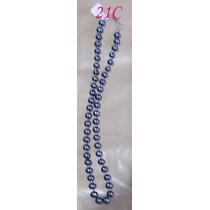 N21c Collar De Perlas Negras De 7mm Terminado En Plata Fina