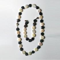 Hermoso Conjunto Collar Y Pulsera De Perlas De Rio (moneda)