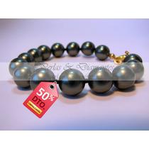 Pulsera De Perlas Negras De 10mm Calidad Aaa+ Redondas