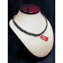 Collar De Perlas Negras Cultivadas Calidad Aaa+