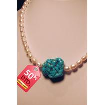 Collar Perlas Genuinas Cultivadas Con Piedra Turqueza
