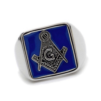 Elegante Anillo Masonico Fondo Azul