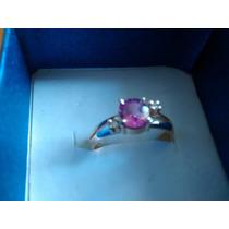 Anillo Oro Y Zafiro Con Pequeños Diamantes