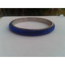 Pulsera De Acero Plateada, Con Cristales Azules (esclava)