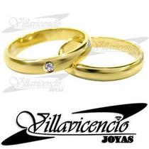 Par De Argollas Oro 18k 12 Gr Inglesa + 1 Diamante 8 Puntos