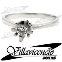 Anillo De Oro Blanco 18k 3 Gr Con Cristales Swarovski