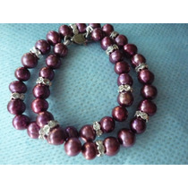 Tobillera De Perlas Cultivadas Redondas Color Mauve