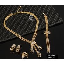 Set Joyas Dorado Collar Pulsera Aros Anillo Diseño Gotas