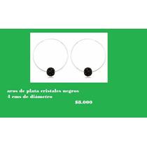 Aros De Plata 925, Cristales Negros