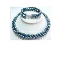 Bellísimo, Elegante Collar Y Pulsera Perlas Cultivadas Negra