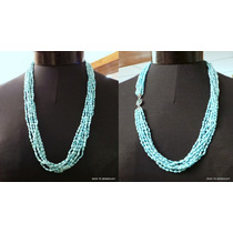 Perlas De Rio Turquesas Collar Broche Plata