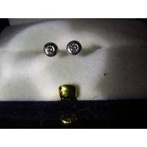 Aros De Plata Con Oro Y Diamante Blanco De4 Puntos