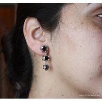 Aros Moissanite Diamantes Negro 8kilates