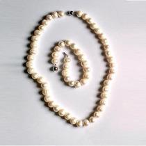 Hermoso Conjunto Collar Y Pulsera De Perlas De Rio