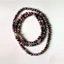 Hermoso Collar De Perlas De Rio Tinteadas Y Cristales