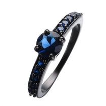 Anillo Negro Enchapado Oro Negro 10k Circon Compromiso Azul