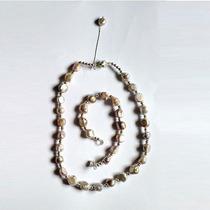 Hermoso Conjunto Collar Y Pulsera De Perlas De Rio Irregular