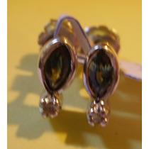 Aros De Plata Rodinada Con Zafiros Verde Y 2 Diamantes