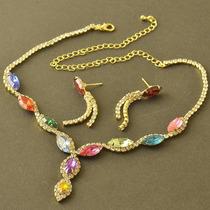 Conjunto Multicolor Laminado En Oro