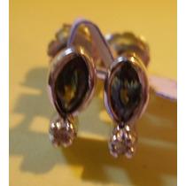 Par De Aros De Plata Rodinada Con Zafiros Y 2 Diamantes