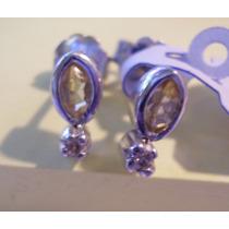 Par De Aros De Plata Rodinada Contopacios Y 2 Diamantes