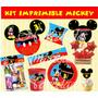 Kit Imprimible Mickey Mouse Tarjetas Cumpleanos Invitacion#6