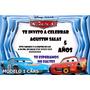 Tarjetas De Invitación De Cumpleaños Cars Tamaño 10x15