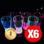 6 Vasos Led Luminosos Reutilizables, Cotillon Fluor,