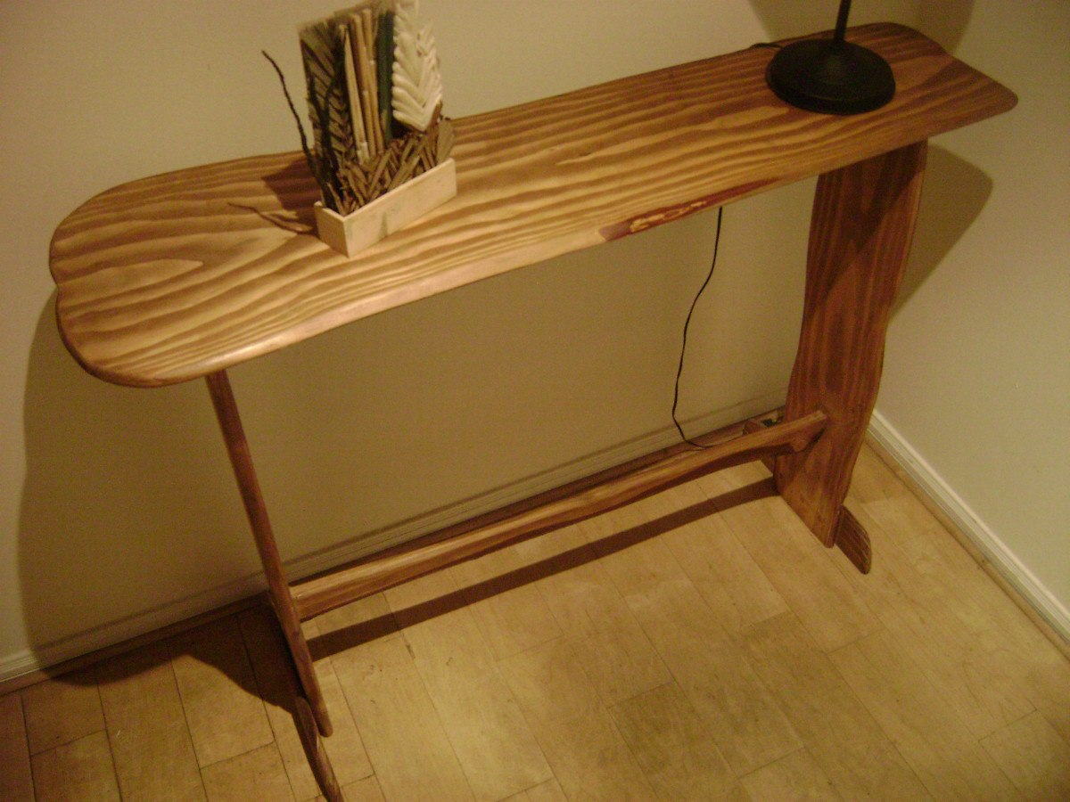 Mesa de arrimo rustica 100 artesanal madera natural for Como hacer una mesa de madera rustica