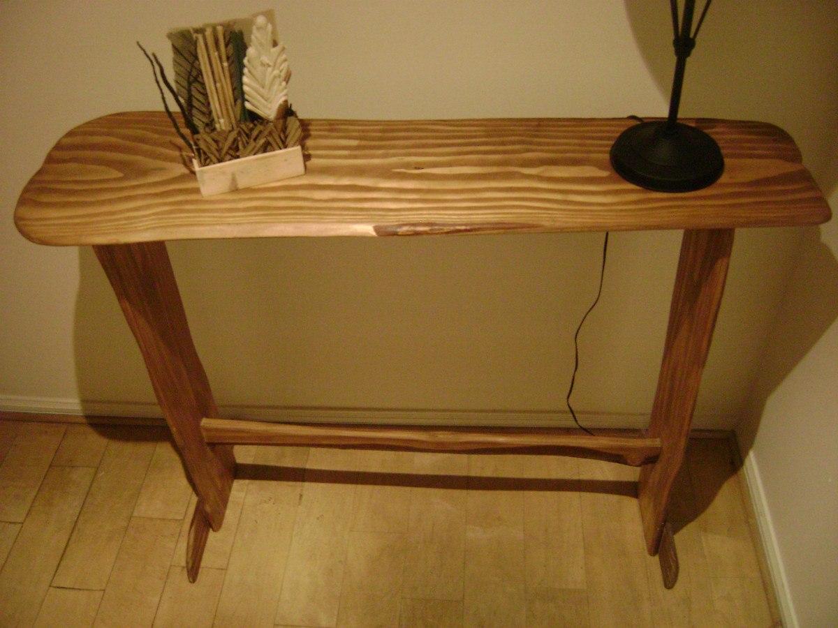 Mesa de arrimo rustica 100 artesanal madera natural for Hacer mesa de madera rustica
