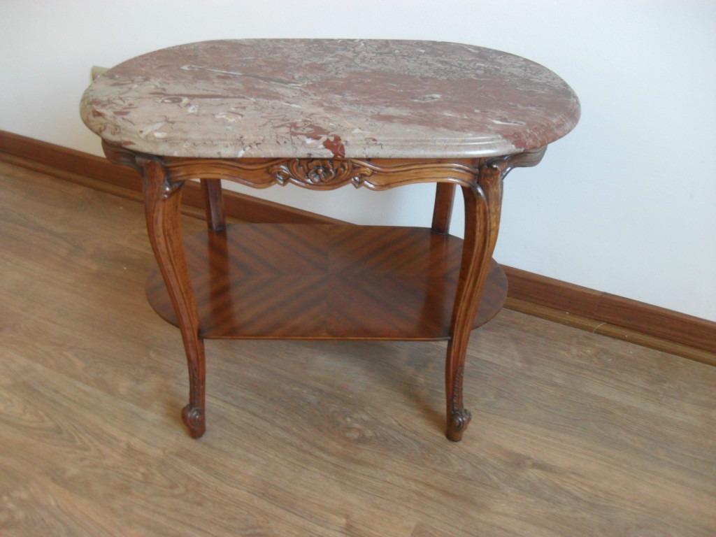 Mesa de madera nogal con cubierta de marmol en - Mesas de marmol precios ...