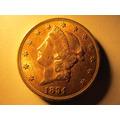 Moneda U.s.a. Norte America 20 Dolares 1894 Una Onza De Fino
