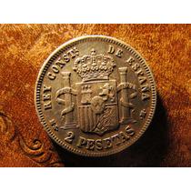 Moneda 2 Pesetas Ms. M. España 1882 Plata Alfonso Xii 2,7cms