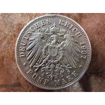 Antigua Moneda Alemania 5 Marcos 1907 Plata Tamaño Corona