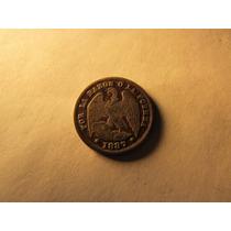 Antigua Moneda Plata Republica De Chile Medio Decimo 1887