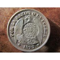 Antigua Moneda Plata Chile Un 1 Peso Aguila 1877 Remarcada