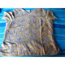Blusa Amarilla Café Azul Con Diseños Abotonada Atrás Talla S