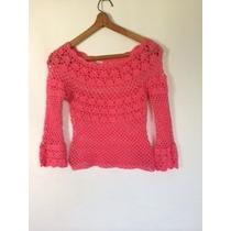Chaleco Crochet Hecho A Mano Fucsia Unico