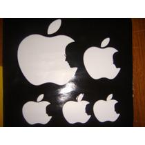 Stickers ...set De 5 Logos Apple Perfil Steve Jobs