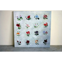 Cuadro Moderno, Flores En Fondo Blanco, Oleo Sobre Tela