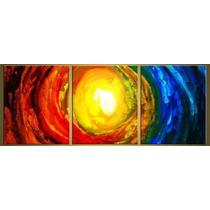 Cuadros Abstractos Modernos,tripticos Coloridos $35.000