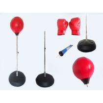 Pera Bola Velocidad Con Base Boxeo+guantes Standar Y Bombin