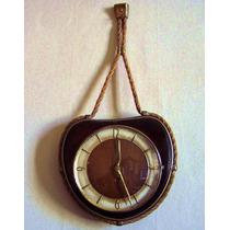 Reloj Mural Náutico Vintage Aleman Madera Guarnicion Bronc