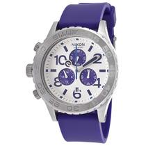 Reloj Nixon 42-20 Chrono Violet Blue Polyurethane White Dial