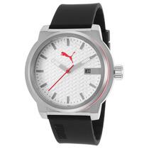 Reloj Puma Black Silicone White Textured Dial - Hombre