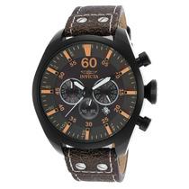 Reloj Invicta Aviator Chronograph Black Genuine Leather,